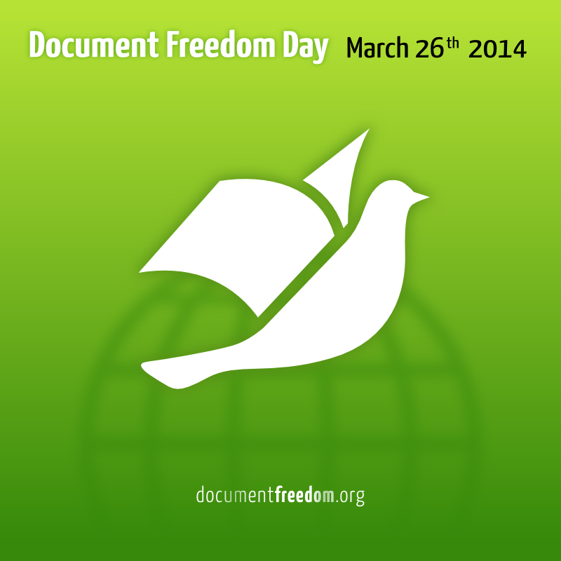 Document Freedom Day badge. White dove on green.